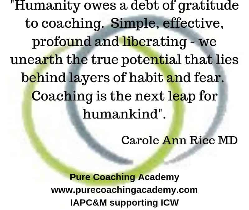 Carole-Ann Rice, MD, Pure Coaching, Supporting ICW 2019