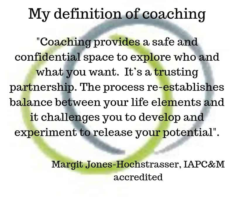My definition of coaching, Margit Jones-Hochstrasser, IAPC&M